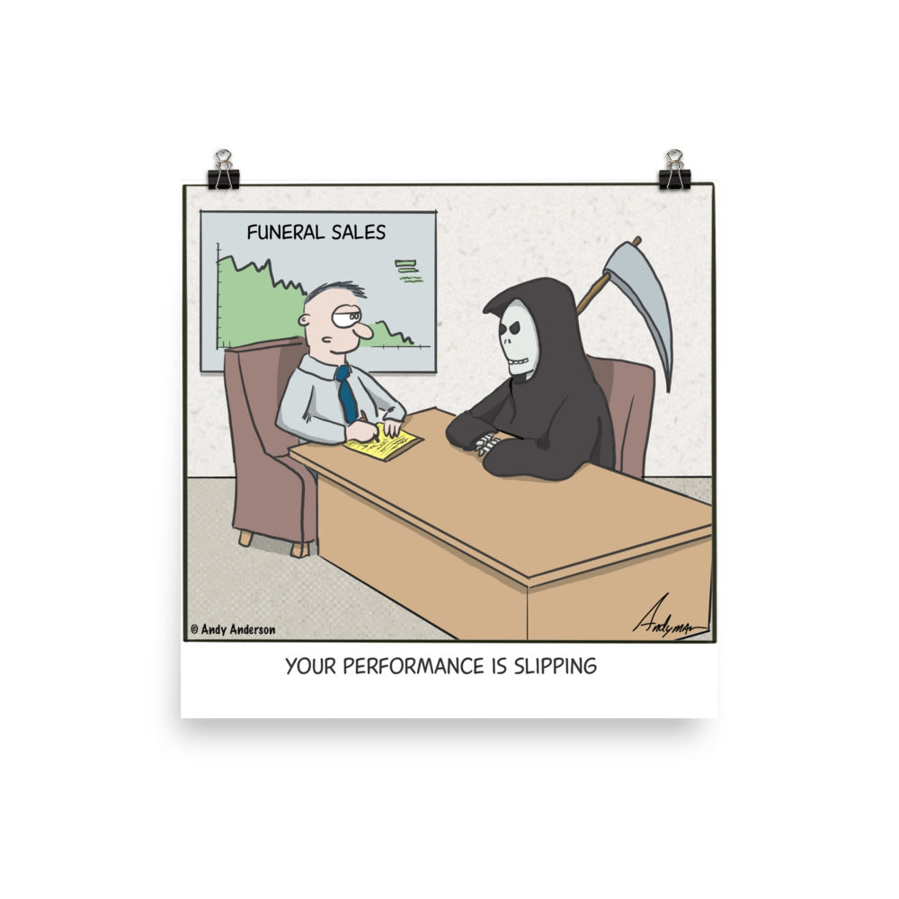 Grim Reaper performance is slipping cartoon print