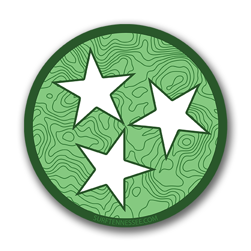 The Tri Star Green Topo Sticker - surf tennessee tennessee shirts