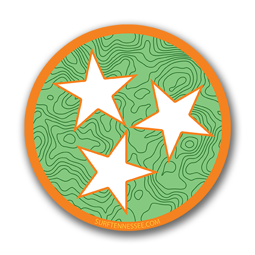 The Tri Star Orange Topo Sticker - surf tennessee tennessee shirts