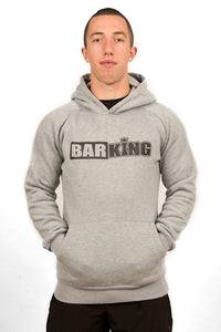 BarKing logo muscle fit hoodie Grey. barkingbarqueen wearthecrown