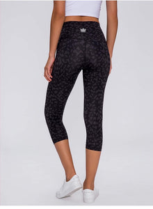 Cropped Leggings - Black Leopard