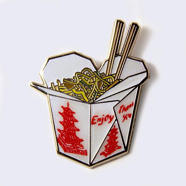 Chinese Food Take Out Box Enamel Pin
