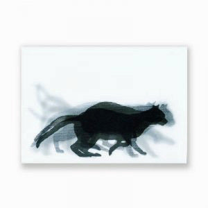 Running Black Cat Postcard