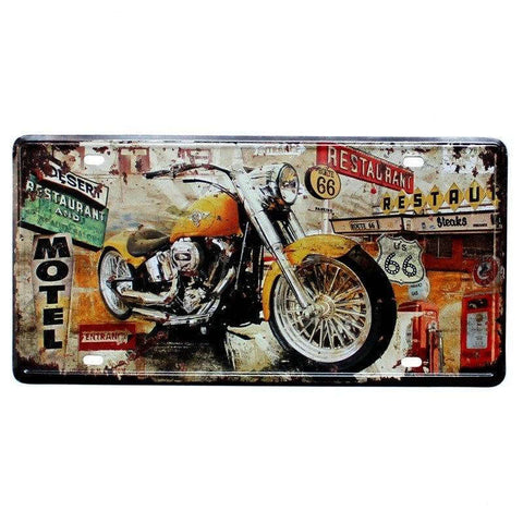 plaque metal deco moto custom