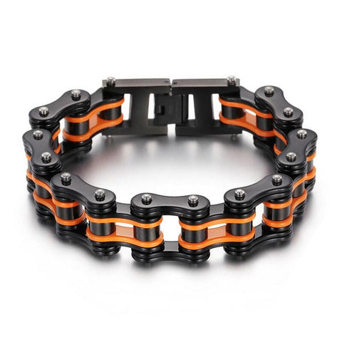 bracelet chaine moto orange