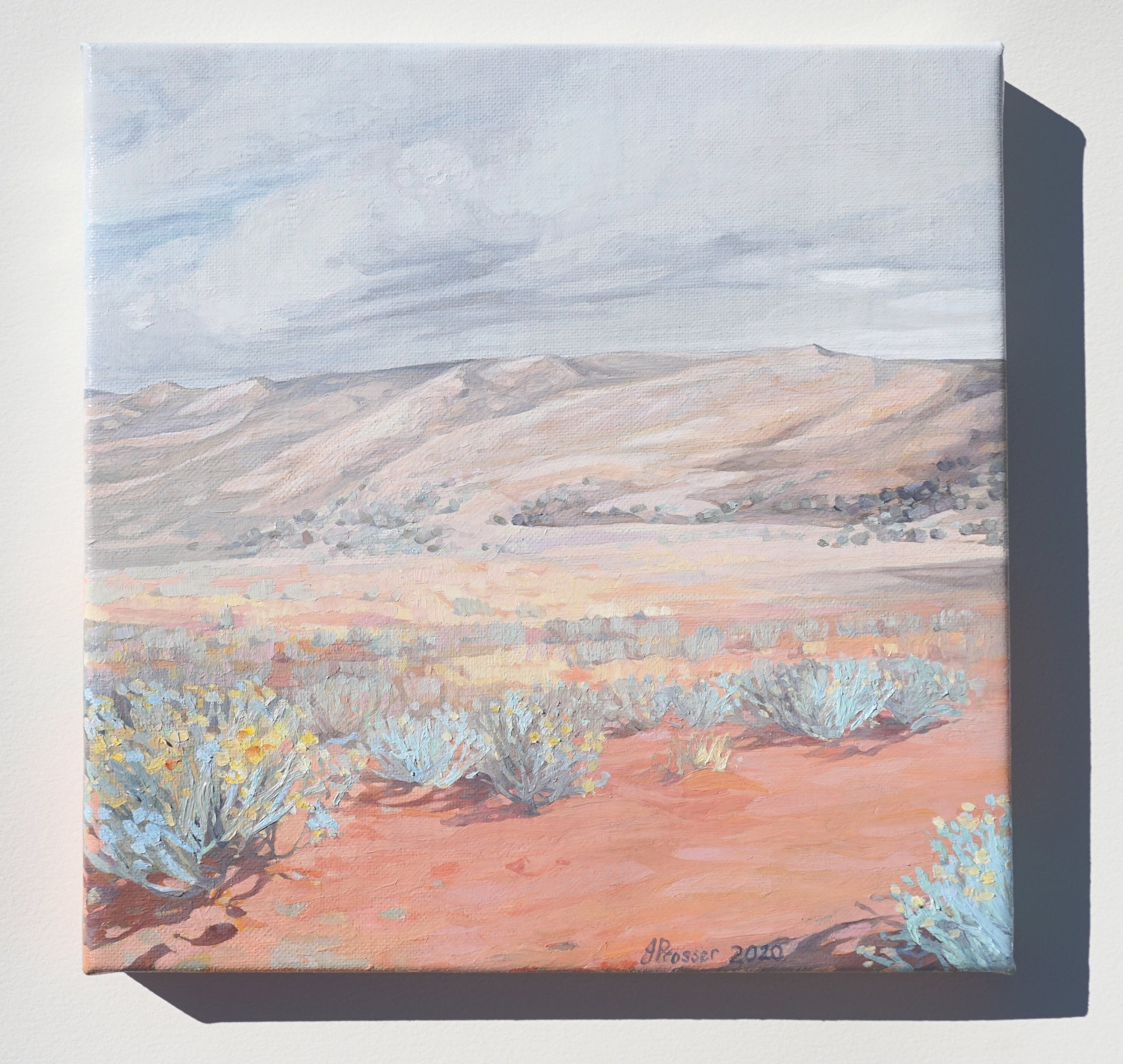 Desert and Blue Bush Landscape painting by Australian artist Jaime Prosser