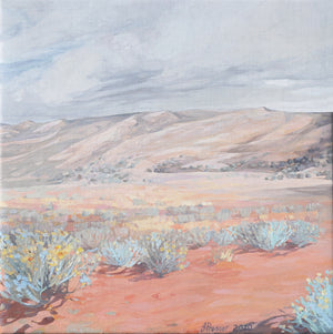 Open image in slideshow, jaime prosser painting titled 'Desert & Blue Bush Landscape'