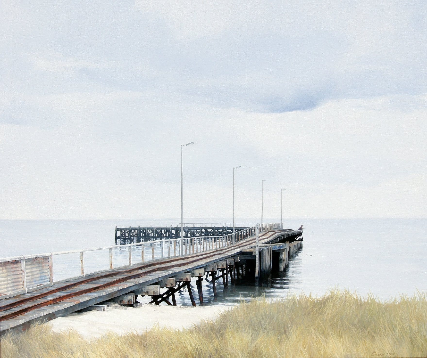 Beach canvas Art - Beach Jetty - JAIME PROSSER ART - JAIME PROSSER ART