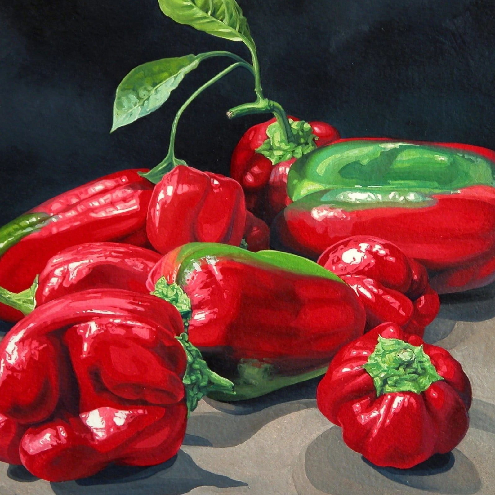 Still Life Greeting Card - Red Green Capsicums - JAIME PROSSER ART - JAIME PROSSER ART