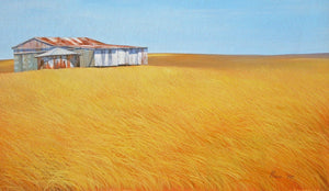 Open image in slideshow, CANVAS PRINTS - Australian Painting Landscape Print - Hilltop Shed - JAIME PROSSER ART