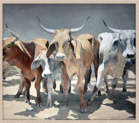 painting of Northern Longhorns Print - JAIME PROSSER ART