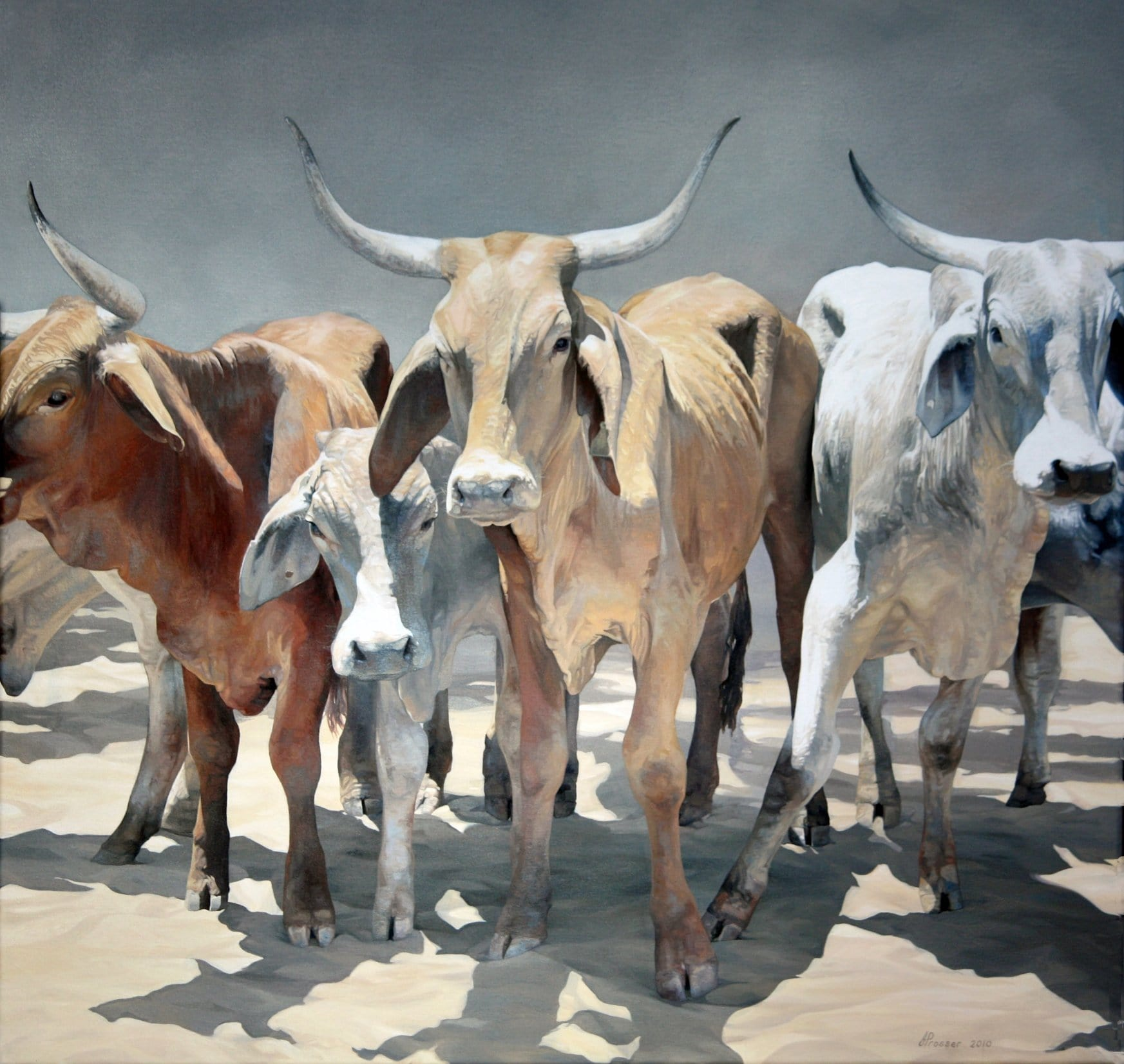 Cow canvas prints of painting Northern Longhorns Print - JAIME PROSSER ART