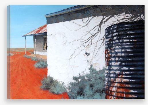 Red Dust Against Sun-Bleached Walls Print - JAIME PROSSER ART