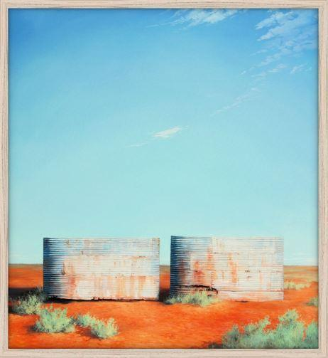 Australian outback art Twin Tanks at Goolgowi Print - JAIME PROSSER ART