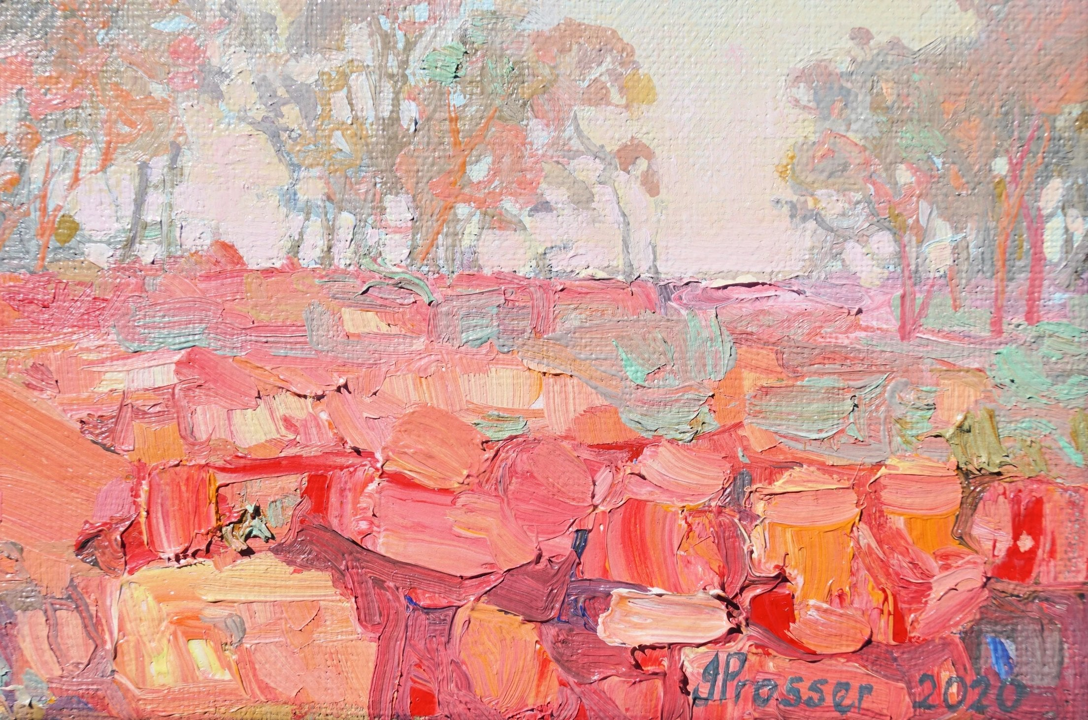 Sunset Over Outback cliffs Landscape painting by Australian artist Jaime Prosser