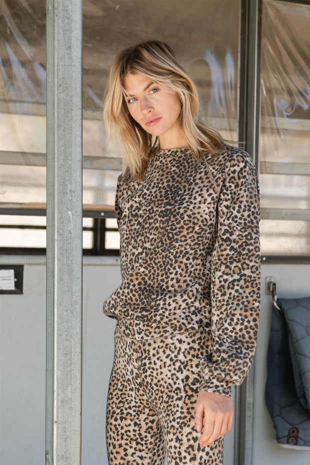 OVERSIZED SWEATSHIRT Brown Leopard