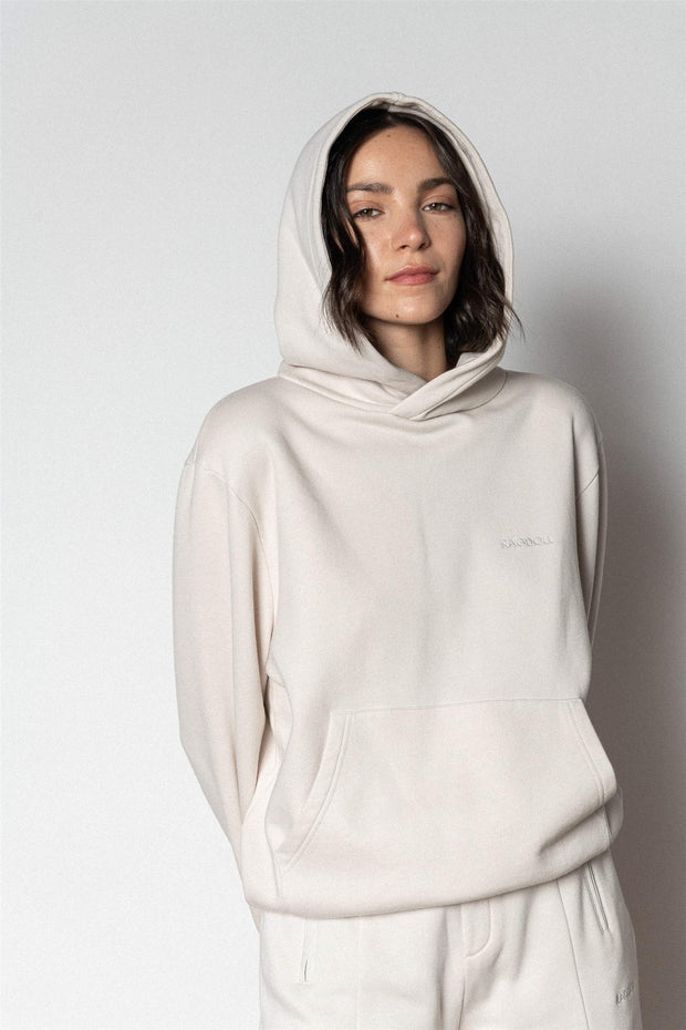PULL ON HOODIE Bone White