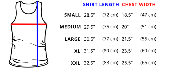 STANDARD TANK TOP MEASUREMENTS If you love our Standard Unisex (Men's) Shirt, our Standard tank will be your perfect match!