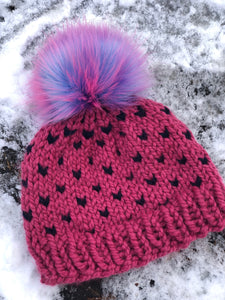 Pink and navy chunky handmade knit hat with magical unicorn pom pom