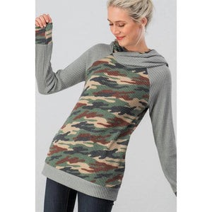 CAMO THERMAL KNIT DOUBLE HOODIE TOP