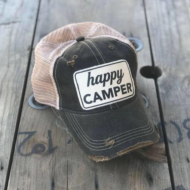 Happy Camper Trucker Hat - Charcoal - Trucker Hat