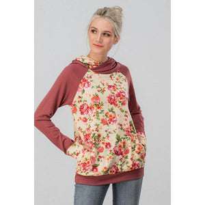 FLORAL BLOCK DOUBLE HOODED SWEATER