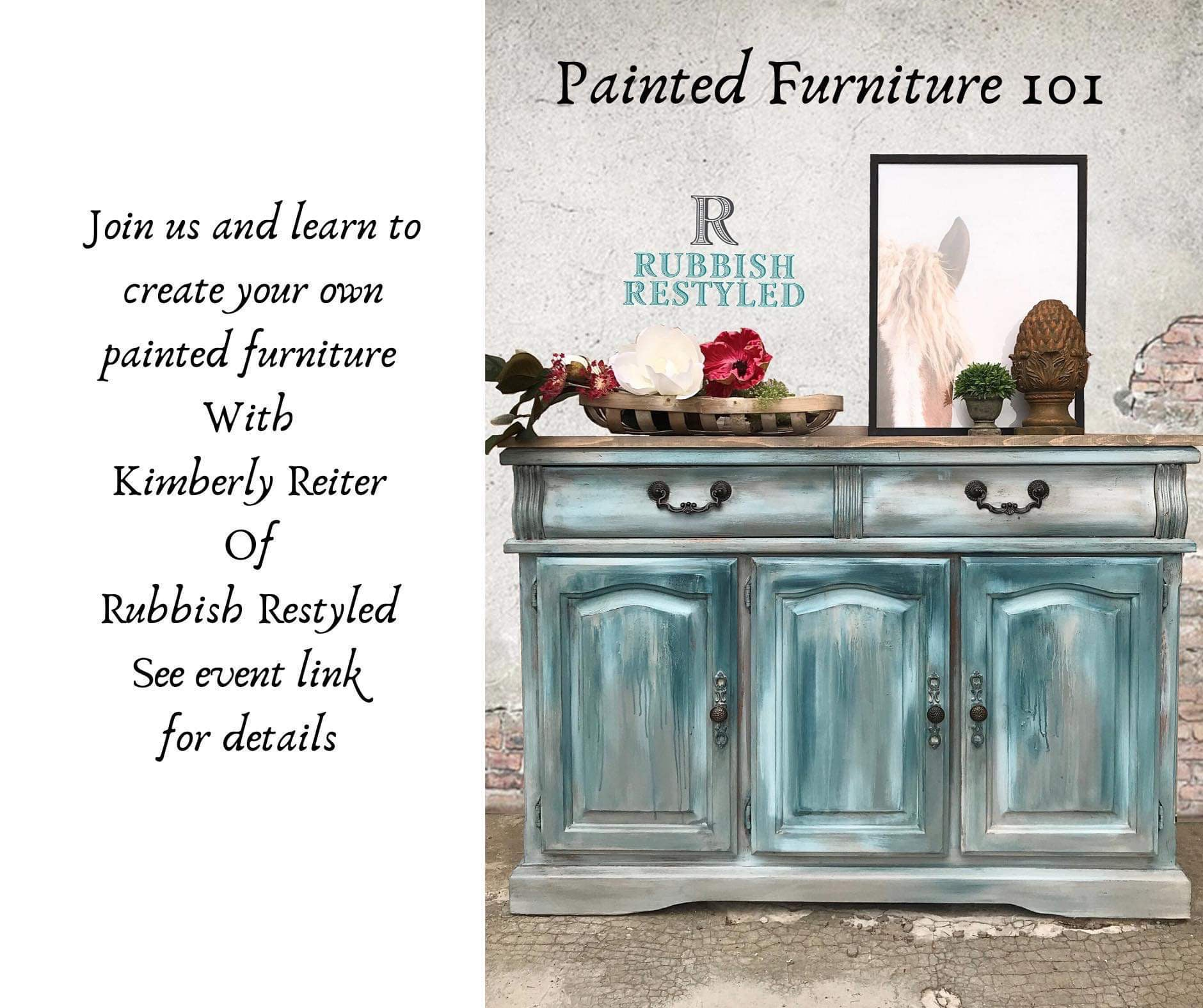 March 14th | 1:00 - 4:00  | Furniture Painting 101 with DIY Paint