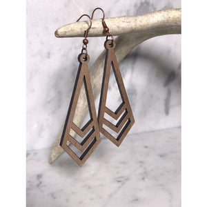 Lightweight Laser Engraved Wood Earrings: Lohi