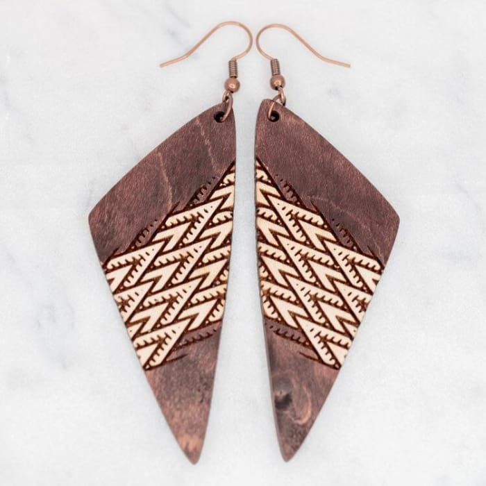Lightweight Laser Engraved Wood Earrings: Manoa