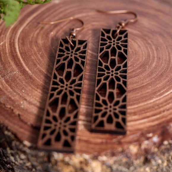 Lightweight Laser Engraved Wood Earrings: Mission District