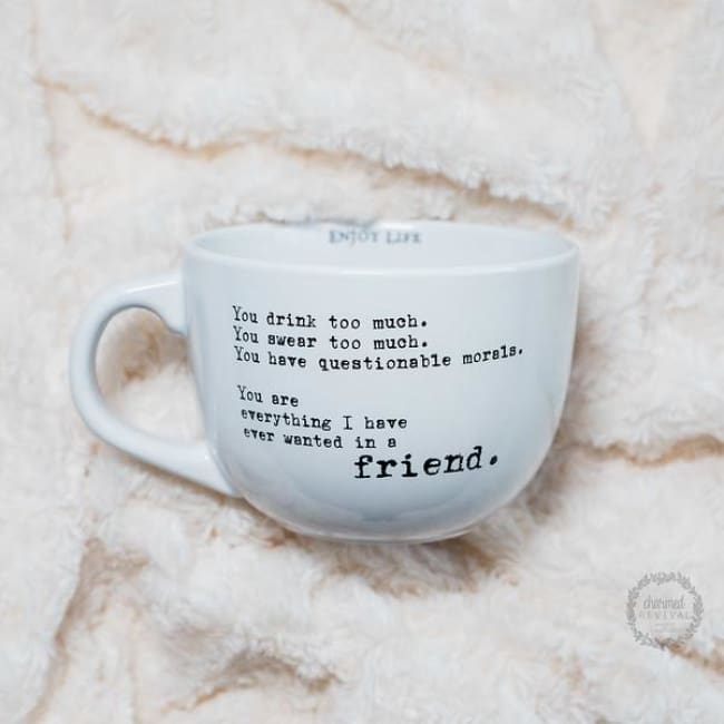 Over Sized coffee or soup gift able Stoneware Mug (Various Sayings) - You Drink Too Much. You Swear Too Much. You Have Questionable Morals. You Are Everything