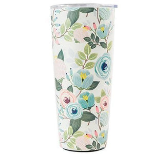 Floral Stainless Large Travel Tumbler (Multiple Styles) - Peach Floral