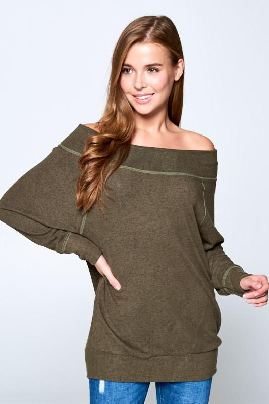 Olive Off the Shoulder Knit Top
