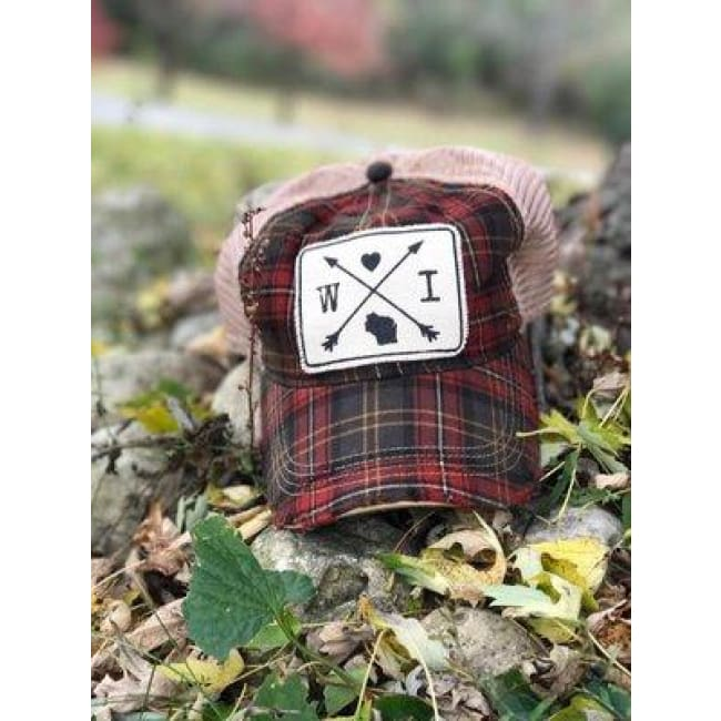 Wisconsin Trucker Hat - Plaid - Trucker Hat