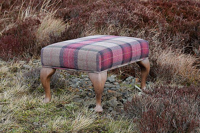 Handmade Footstool Upholstered in Pure Wool Tartan Fabric