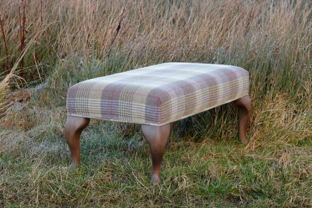 handmade footstool, upholstered in your family tartan fabric