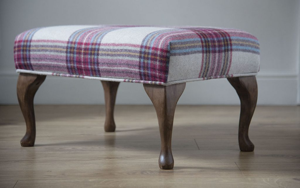 Handmade footstools, pouffes upholstered in pure wool fabrics