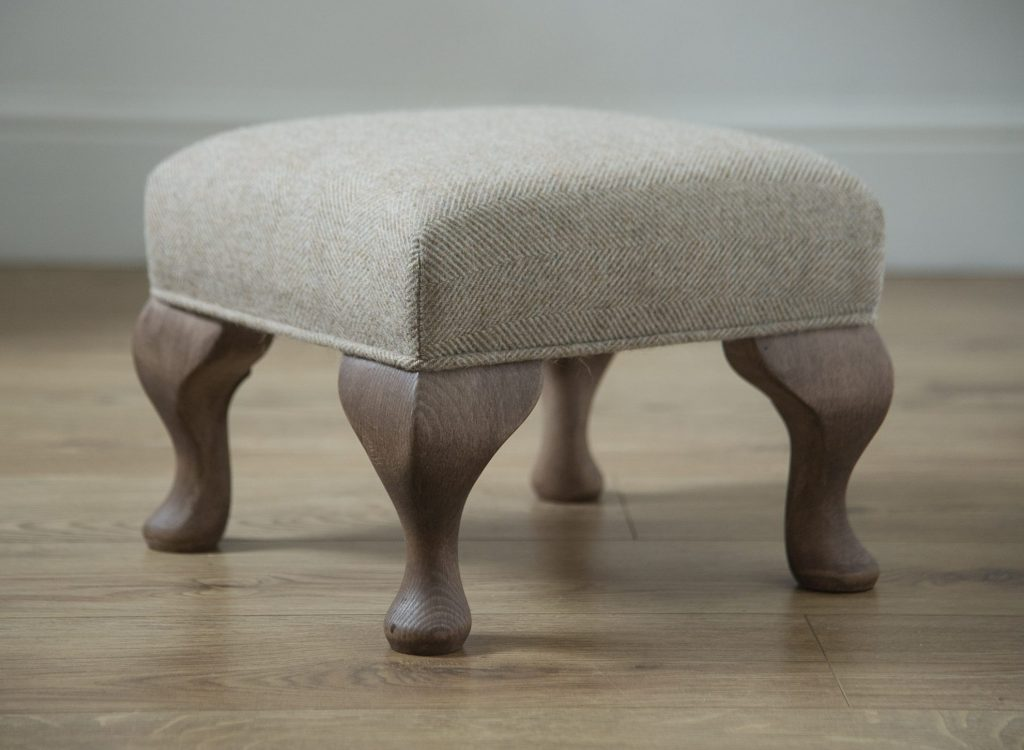 The 'Peebles' Handmade Footstool  & Ottoman  - 12 x 12 inches - Fabric image Balmoral Clementine
