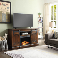 Clayton TV Stand with Electric Fireplace Walnut