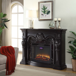 Kingston Black Grande Fireplace + LED Electric Fireplace