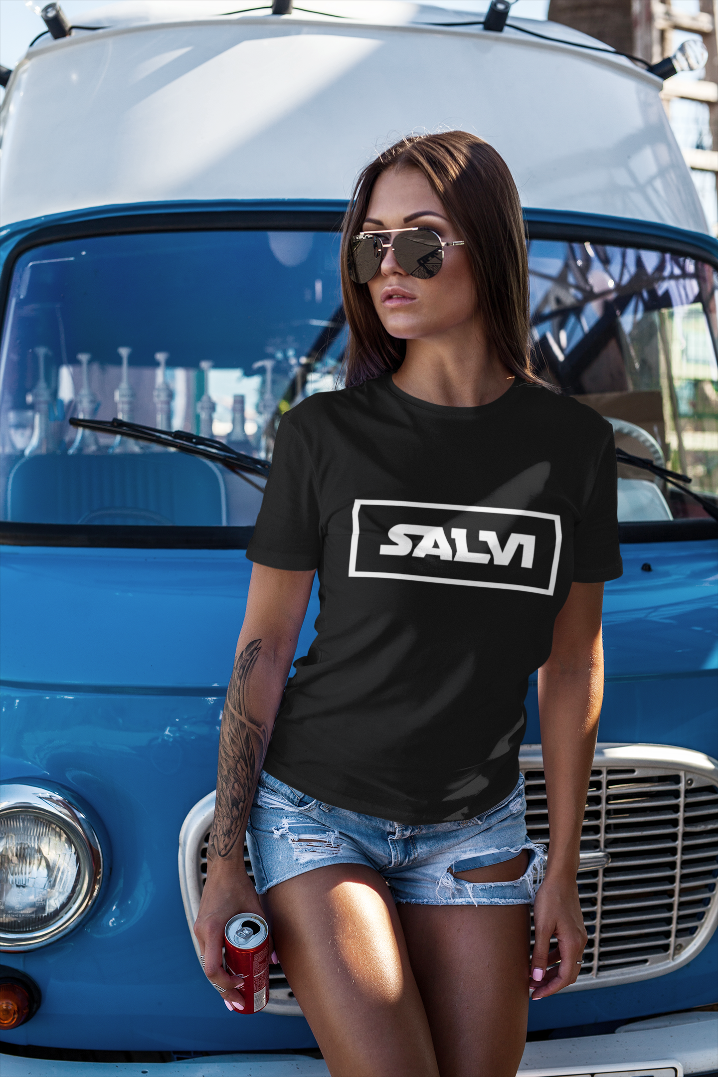 Salvi in black with white graphic, Salvadoran T-Shirt, El Salvador shirt - SIVAR ESTILO