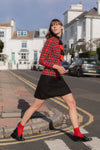 Anita is Vintage 60s Red & Black Tartan Mini Dress