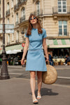 Anita is Vintage 60s Baby Blue A Line Mini Dress with Scallop Waist Detail