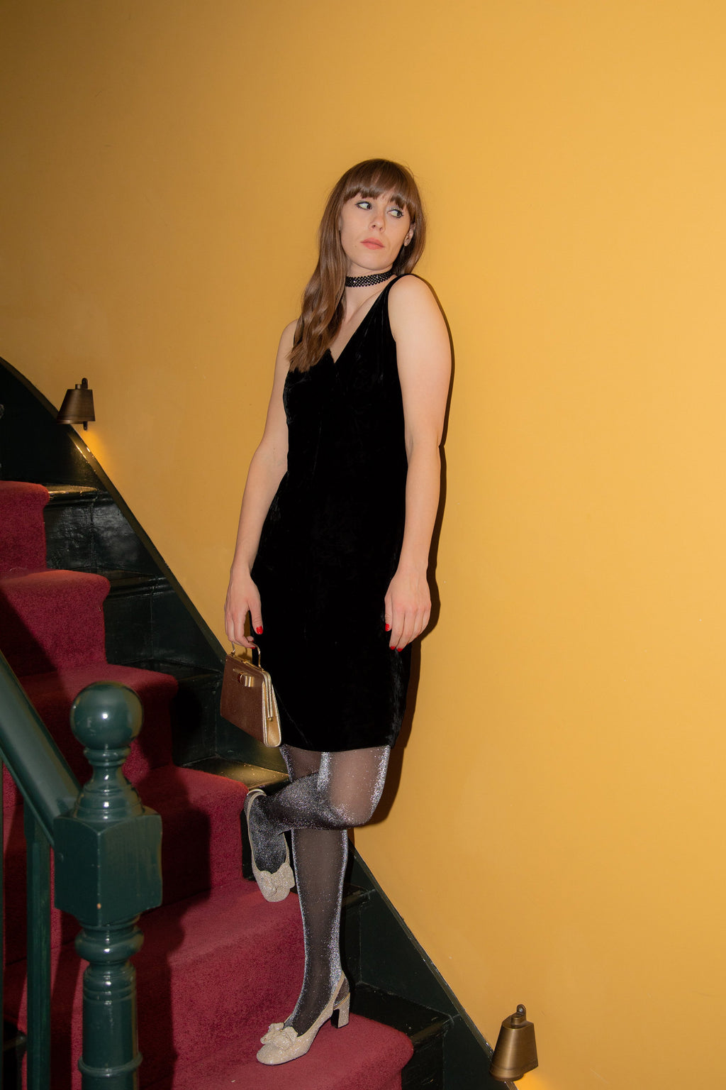 Anita is Vintage 60s Black Velvet Dress