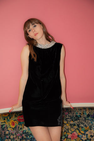 Anita is Vintage 60s Black Velvet Mini Dress