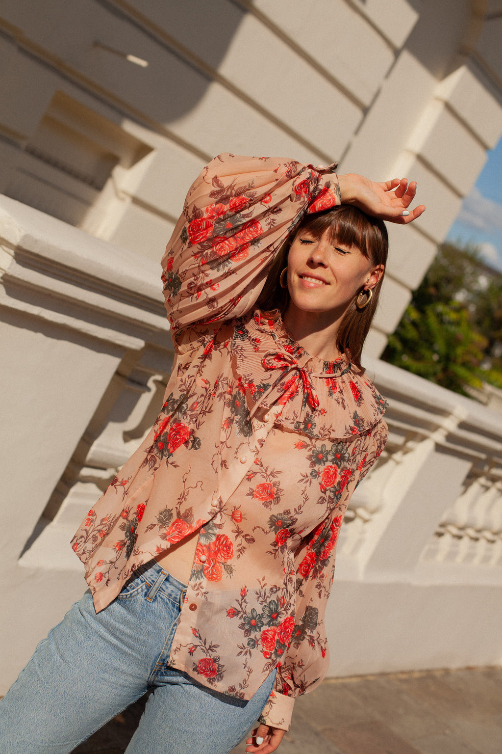 Anita is Vintage 70s Blush Floral Ruffle Blouse