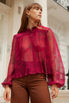 Anita is Vintage 60s Fuchsia Pink Open Blouse