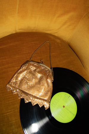 Anita is Vintage 60s Gold Chainmail Mini Bag