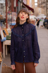 Anita is Vintage 60s Navy Blue Ruffle Blouse