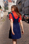 Anita is Vintage 60s Navy Blue Pleated Pinafore Mini Dress back